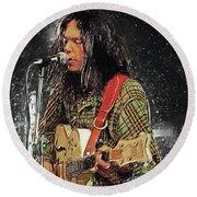 Neil Young Round Beach Towel by Taylan Apukovska