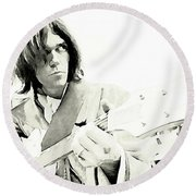 Neil Young Watercolor Round Beach Towel by John Malone