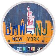 New York City Skyline License Plate Art Round Beach Towel by Design Turnpike