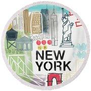 New York Cityscape- Art By Linda Woods Round Beach Towel by Linda Woods