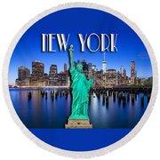 New York Classic Skyline With Statue Of Liberty Round Beach Towel by Az Jackson