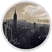 New York Round Beach Towel by Dave Bowman