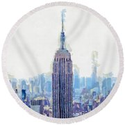 New York Skyline Art- Mixed Media Painting Round Beach Towel by Wall Art Prints