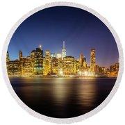 New York Skyline Round Beach Towel by Marvin Spates