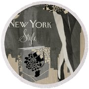 New York Style I Round Beach Towel by Mindy Sommers