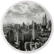 New Your City Skyline Round Beach Towel by Jon Neidert
