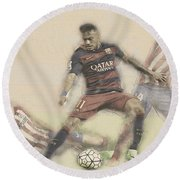 Neymar Fight For The Bal Round Beach Towel by Don Kuing