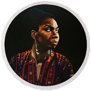 Nina Simone Painting Round Beach Towel by Paul Meijering