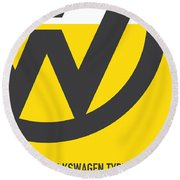 No009 My Little Miss Sunshine Minimal Movie Car Poster Round Beach Towel by Chungkong Art