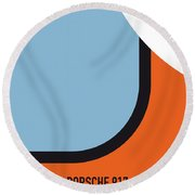 No016 My Le Mans Minimal Movie Car Poster Round Beach Towel by Chungkong Art