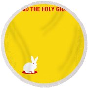 No036 My Monty Python And The Holy Grail Minimal Movie Poster Round Beach Towel by Chungkong Art