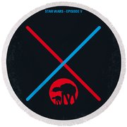 No155 My Star Wars Episode V The Empire Strikes Back Minimal Movie Poster Round Beach Towel by Chungkong Art