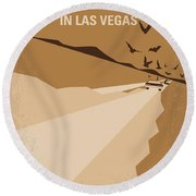 No293 My Fear And Loathing Las Vegas Minimal Movie Poster Round Beach Towel by Chungkong Art