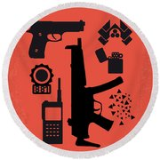 No453 My Die Hard Minimal Movie Poster Round Beach Towel by Chungkong Art