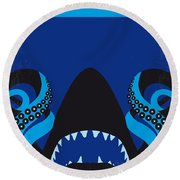No485 My Sharktopus Minimal Movie Poster Round Beach Towel by Chungkong Art