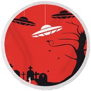 No518 My Plan 9 From Outer Space Minimal Movie Poster Round Beach Towel by Chungkong Art