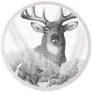 North American Nobility Whitetail Deer Round Beach Towel by Laurie McGinley