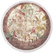 Northern Boreal Hemisphere, From The Celestial Atlas Round Beach Towel by Andreas Cellarius