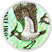 Northern Lapwing  Round Beach Towel by Lanjee Chee