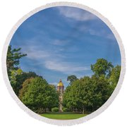 Notre Dame University 6 Round Beach Towel by David Haskett