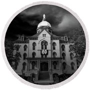Notre Dame University Black White 3a Round Beach Towel by David Haskett