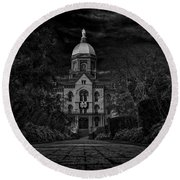 Notre Dame University Golden Dome Bw Round Beach Towel by David Haskett