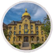 Notre Dame University Golden Dome Round Beach Towel by David Haskett