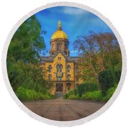 Notre Dame University Q2 Round Beach Towel by David Haskett