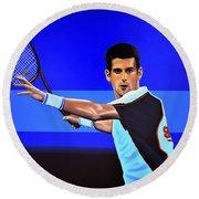 Novak Djokovic Round Beach Towel by Paul Meijering