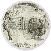 November   Vintage Thanksgiving Card Round Beach Towel by American School