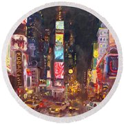 Nyc Times Square Round Beach Towel by Ylli Haruni