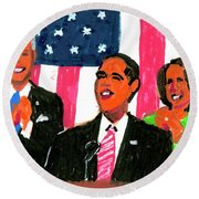 Obama's State Of The Union '10 Round Beach Towel by Candace Lovely