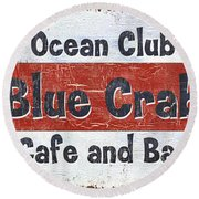 Ocean Club Cafe Round Beach Towel by Debbie DeWitt