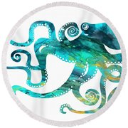 Octopus 2 Round Beach Towel by Donny Art