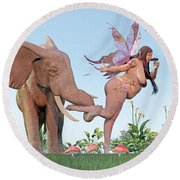 Oh Alice Round Beach Towel by Betsy Knapp