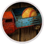 Old Truck With Basball Round Beach Towel by Garry Gay