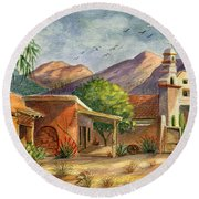 Old Tucson Round Beach Towel by Marilyn Smith