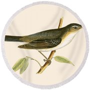 Olive Tree Warbler Round Beach Towel by English School