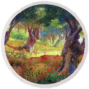 Olive Trees And Poppies, Tranquil Grove Round Beach Towel by Jane Small