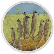 On The Lookout Round Beach Towel by Pat Scott