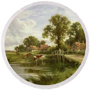On The Thames Near Marlow Round Beach Towel by Henry Parker