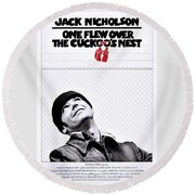 One Flew Over The Cuckoo's Nest Round Beach Towel by Movie Poster Prints