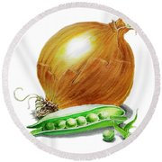 Onion And Peas Round Beach Towel by Irina Sztukowski
