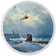 Operation Kama Round Beach Towel by Valentin Alexandrovich Pechatin