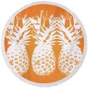 Orange And White Pineapples- Art By Linda Woods Round Beach Towel by Linda Woods