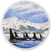 Orca Round Beach Towel by James Williamson