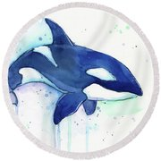 Orca Whale Watercolor Killer Whale Facing Right Round Beach Towel by Olga Shvartsur