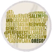 Oregon State Outline Word Map Round Beach Towel by Design Turnpike
