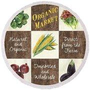 Organic Market Patch Round Beach Towel by Debbie DeWitt