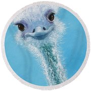 Ostrich Painting Round Beach Towel by Jan Matson